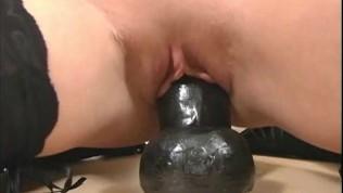 Sabrina riding a thick dildo